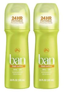 Ban Roll-On Antiperspirant Deodorant, Fresh Cotton, 3.5oz Pack of 2