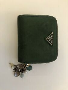 Prada Wallet Nylon Leather Green Women Fair Condition