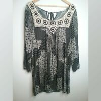 Easel boho black and ivory print dress/Tunic