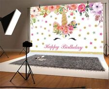 Unicorn Flower Birthday Gold Dots 7x5ft Photography Backgrounds Backdrops Props