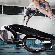 Black Adjustable UV Swimming Glasses Nose Clip + Ear Plug + Anti fog Swim Goggle
