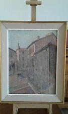 tableau ancien huile sur toile  .Rue de Montauban ,sud  ouest de la FRANCE