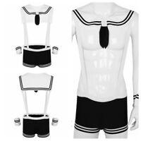 Halloween Sexy Men's Sailor Navy Outfit Costume Collar Cuffs Nightwear Clubwear