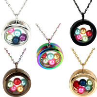 """Silver Rainbow Glass Floating Locket Beads Cage Perfume Diffuser Necklace 20"""""""