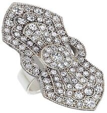 Spring Street Silvertone Art Deco Adjustable Ring with Crystals
