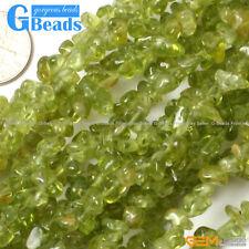"3-5mm Freeform Green Peridot Gemstone Chips Beads Free Shipping Strand 34"""