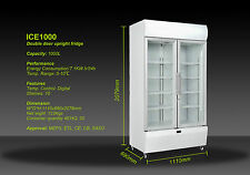 NEW IGLOO DOUBLE DOOR 1000L COMMERCIAL MILK GLASS DISPLAY FRIDGE 110*70*210CM