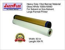 Heavy Duty 13oz Banner Material, 1000x1000d, 63 in x 164 Ft Roll, Gloss White w4