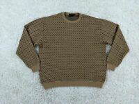 Bugatchi Uomo 100% Wool Sweater Men XL Extra Large Brown Tan Blue Polka Dot