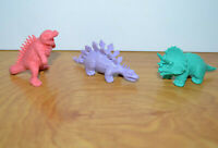 Vintage Russ DINOSAUR TOY Lot Rubber Figurines 1980s Stegosaurus Triceratops