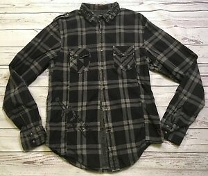 GUESS MENS SNAP BUTTON FRONT L/S PLAID SHIRT Sz MED BLACK GRAY DEFIANCE OF ROYAL