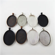 Mixed Color Alloy Oval Cameo Base Setting 40*30mm Pendant Charms Jewelry 8pcs