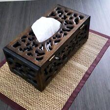 Stencil Teak Wood Tissue Cover Box Thailand Handcraft Carved Napkin Vintage Gift
