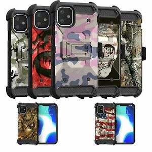 For Apple iPhone 11 6.1 Triple Layer Holster Clip Cover Case