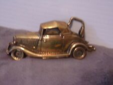 "Older Complete Brass Soft Top Car in Full Detail With Rumble Seat-4"" x 1 3/4"""
