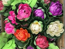 """20 xpcs Artificial Floating Foam Lotus Flowers, Realistic Water Lilly Pads 4"""""""