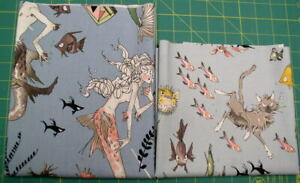 """2 Cotton Fabric Remnants (18"""" & 13"""") Alexander Henry Ghastlies Collection"""