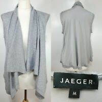 Jaeger Ladies Grey Waterfall Cardigan Waistcoat Size 12 Lagenlook Cashmere Silk