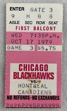 NHL 1979 10/17 Montreal Canadiens at Chicago Blackhawks Hockey Ticket Stub