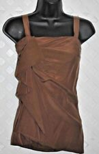 D. EXTERIOR Brown  SILK DRAPED & RUCHED TOP / BLOUSE Made in Italy XS