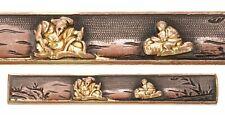 Antique Japanese Goto Kozuka 2 People Nanako Samurai Sword Fitting Koshirae Old