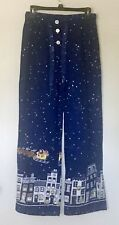 Nick & Nora Women's Pajama Lounge Pants Size Small Flannel Christmas Blue Santa