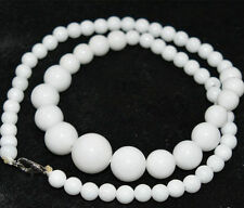 charming Natural 6-14mm white jade Gemstone Necklace 17 Inch
