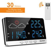 Funk Wetterstation Außensensor Uhr Wecker Digital Thermometer Meteorologie DE