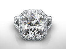 CUSHION CUT DIAMOND RING HALO 4 CARATS SI2 8 PRONG 18K WHITE GOLD SIZE 5 6 7 8