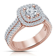10K Solid Rose Gold Finish 2.00 ct Round Cut VVS1 Halo Diamond Engagement Ring