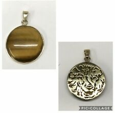 9ct Gold Pendant with Tiger's Eye Stone Fully Hallmarked & Tiger Design On Back