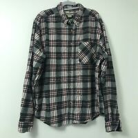 Woolrich Men's Red White Black Plaid Flannel Long Sleeve Button Up Shirt Size XL