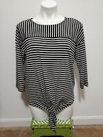 Chico's Travelers Black White Striped Round Neck 3/4 Sleeve Knotted Top Size 1