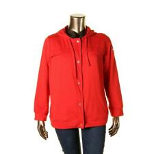 L-RL Lauren Active 1978 Womens Red Hooded Pockets Jacket Plus 2X BHFO