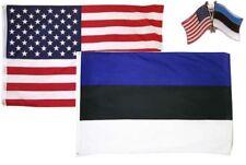Wholesale Combo USA & Estonia Country 2x3 2'x3' Flag & Lapel Pin