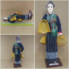 Hot Thai Culture Doll North Eastern Dress With Fishing Equipment Collectible New