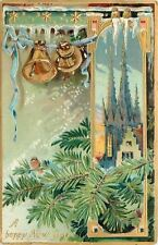New Year~Birds~Icy Portal Pine Branch~Gothic Spires~Bells~Ribbon~Gold Emb~TUCK