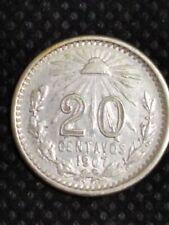 México coin 20 centavos resplandor 1907 silver