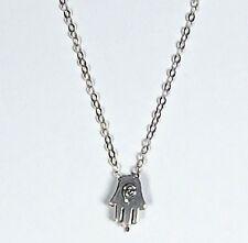 Hamsa Fatima Hand Vintage Pendant Charm Silver Chain Necklace Jewish Judaica