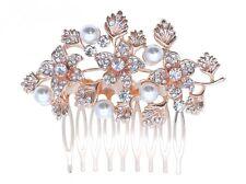 BN Bridal Rose Gold Wedding Crystal & Pearl Women Hair Clip Comb 160 UK