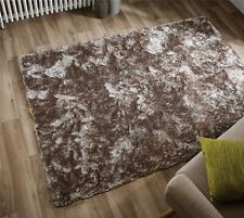 """Silky Soft Thick Pile Beige Mink Shaggy Plush Crushed Velvet Effect Serenity Rug 120x170cm (4'x5'6"""")"""