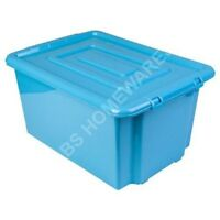 LARGE PLASTIC STORAGE BOX BOXES CONTAINERS BIN WITH LID 5L 14L 32L 52L CRATE