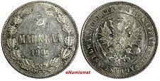 Finland Nicholas II Silver 1907 L 2 Markkaa Mintage-125,000 KM# 7.2