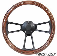 "69-94 Chevy GM 14"" Mahogany Wood Aluminum Rivets Black Muscle Steering Wheel Set"