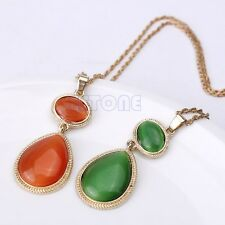 Retro Witches Of East End Green Red Gem Opal Gold Necklace Pendant Statement