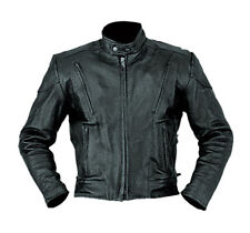 Men's Motorcycle Biker Jacket Genuine Naked buffalo Leather Black