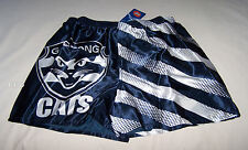 Geelong Cats AFL Mens Navy Blue Stripe Printed Satin Boxer Shorts Size XL New
