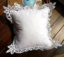 !Elegant Hand Batten Lace Flower Embroidery Hemstitch Cotton Cushion Cover White