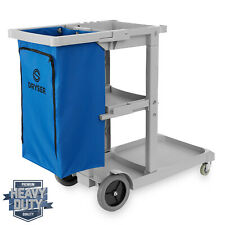 OPEN BOX - Commercial Janitorial Housekeeping Caddy with Shelves and Vinyl Bag