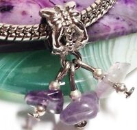 PURPLE GLASS CHIPS_Bead for Silver European Charm Bracelet_Amethyst Handmade